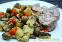 Filet de veau au citron courgettes et olives