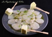 Carpaccio de Saint Jacques gelée de citron et guimauves citron vodka