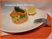 Tartare de saumon melon basilic avocat