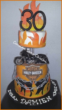 Gâteau thème Harley Davidson