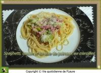Spaghetti bacon et fondue de poireaux au maroilles
