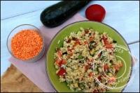 Salade de riz complet lentilles corail avoine et légumes