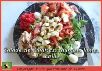 Salade de crudités saumon lump caille