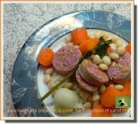 Saucisson à la pistache à cuire haricots coco et carottes