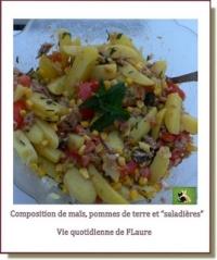 Composition avec maïs pommes de terre et saladières