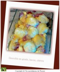 Gnocchis en gratin bacon et chèvre