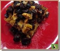 Pudding chômeur sirop d  érable pomme canneberges séchées