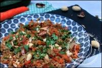 Pilpil aux carottes et courgettes sautées à l  huile de sésame