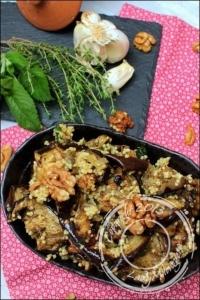 Salade d  aubergines grillées au millet et à la menthe