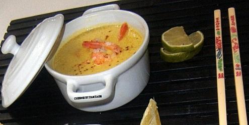 Recette soupe de lait de coco curry aux crevettes - Soupe potiron lait de coco curry ...