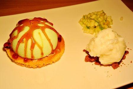 Recette mousse pomme verte sur sabl breton et caramel au beurre sal sorbet au yaourt - Recette caramel beurre sale breton ...