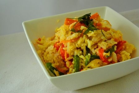 Wok de sole au curry et lait de coco