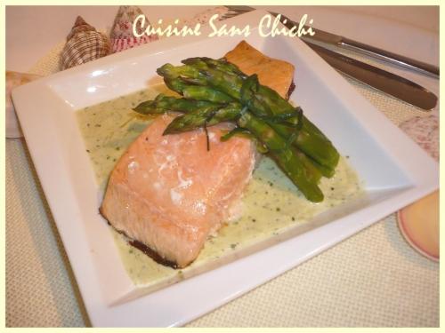 Recette pav s de saumon en sauce d 39 asperges - Cuisiner un pave de saumon ...