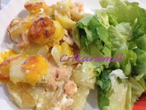 recette gratin de pommes de terre et saumon au cheddar. Black Bedroom Furniture Sets. Home Design Ideas