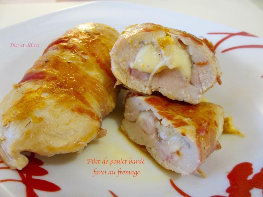 Recette filet de poulet bard farci au fromage - Filet de poulet grille recette ...