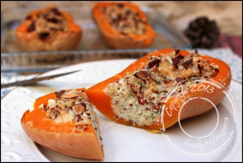 Recette courge butternut gratin e et farcie au ch vre et - Comment cuisiner une courge butternut ...